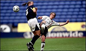 Karen Burke in action for England against Scotland