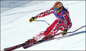Janica Kostelic in action on the super-G course at Snowbasin