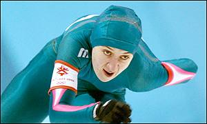 Svetlana Radkevich powers through a bend in the speed skating event