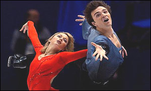 Elena Berezhnaya and Anton Sikharulidze perform during the Pairs free programme