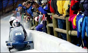 GB's two-man bobsleigh in action