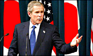 President George W Bush speaking at a joint press conference with prime minister Koizumi
