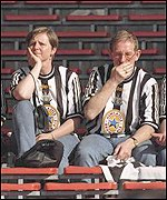 Newcastle fans were glum following their 2-0 defeat at Wembley four years ago