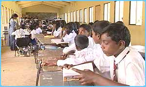 Studying in class in Sri Lanka