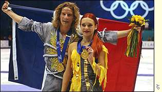 Gold medallists Marina Anissina and Gwendal Peizerat