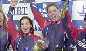 Jean Racine and Jen Davidson celebrate a World Cup win
