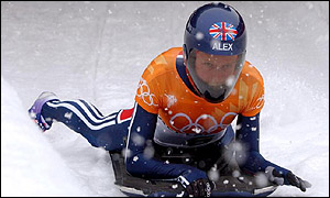 Great Britain's Alex Coomber was blinded by heavy snow during the skeleton final