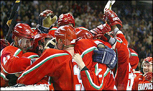 Belarus celebrate a famous victory