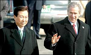 South Korean President Kim Dae-jung and US President George Bush at Dorasan station inside the DMZ