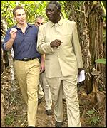 Tony Blair and Ghana's president Kufuor