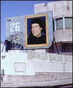 Poster of Gaddafi on a building