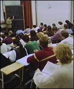 Students in lecture, BBC