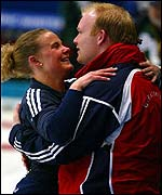 Fiona McDonald celebrates with husband Ewen