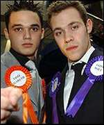 Pop idol finalists Gareth gates and Will Young