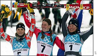 Medal winners Anja Paerson, Janica Kostelic and Laure Pequegnot