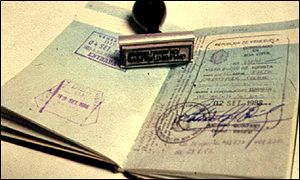 A passport and stamp