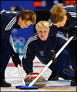 Great Britain's women's curling team in action at Salt Lake City