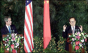 George W Bush (left) with Jiang Zemin in Beijing