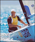 Iain Percy on his way to gold in the men�s' Finn class sailing at the Sydney Olympics