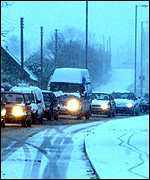 Traffic in snow   PA