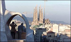The view of Gaudi's Sagrada Familia from his building La Pedrera