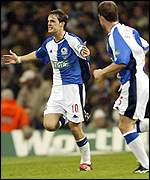 Blackburn striker Matt Jansen celebrates scoring the opener