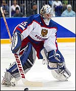 Nikolai Khabibulin in action for Russia