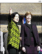 Laura Bush (right) on visit to Beijing's Forbidden City