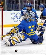 Kim Martin stretches to deny Finland