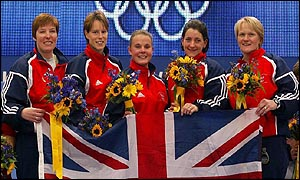 The Women's British curling team pose for the cameras after winning the gold medal