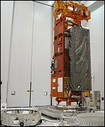 Satellite on the transport container base (Astrium)