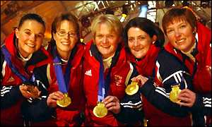 (L-R) Fiona MacDonald, Janice Rankin, Rhona Martin, Debbie Knox and Margaret Morton receive their gold medals in the women's curling