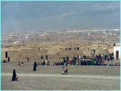 A lot of starving people head for Maslakh camp near Herat. It's thought to be about 3 miles long and half a mile wide, holding 200,000 people