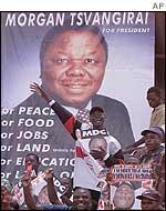 Poster for presidential challenger Morgan Tsvangirai