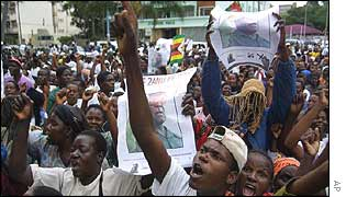 Mugabe supporters march in Harare on Monday