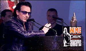 U2 at the NME Awards 2001