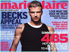 May 2002, David appears on the cover of Marie Claire - he's only the first man ever!