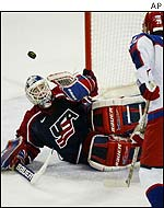Mike Richter denies another Russian attack in the third period