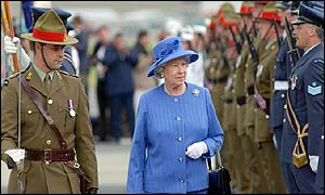 The Queen on arrival at Wellington Airport