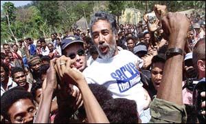 Xanana Gusmao (centre) surrounded by supporters in East Timor