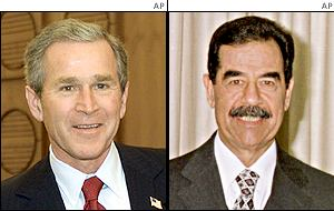 US President George W Bush and Iraqi counterpart Saddam Hussein