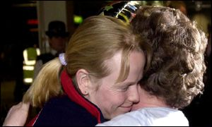 Alex Coomber was greeted by her mother Rosemary