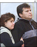 Ernie Crey (right) and common-law wife Sarah Festerling wait for news of Mr Crey's sister Dawn