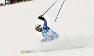 Bode Miller loses control on the slalom slope