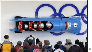 Germany 2 win the four-man bobsleigh gold