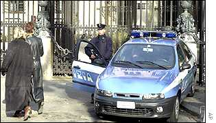 Police at the US embassy in Rome