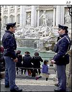 Italian police officers at the Trevi Fountain