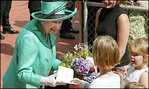 Children greeted the Queen after she attended a service at which she unveiled a consecration stone