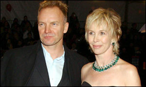 Sting, recent winner of a Brit lifetime achievement award, with his wife Trudie Styler