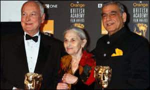 James Ivory, Ismail Merchant and Ruth Prawer Jhabvala clutch their fellowship awards